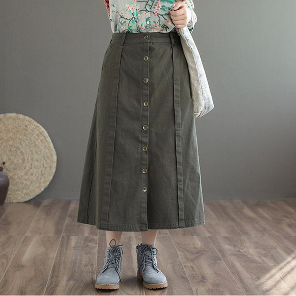 Retro Cotton Front-Breasted Skirt 2019 New December