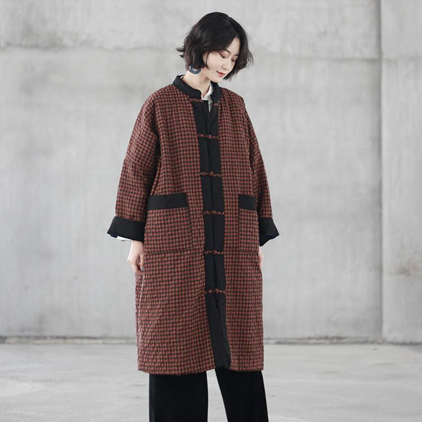 Retro Cotton-linen Cotton-padded Clothes plaid OCT coffee red grid-coat