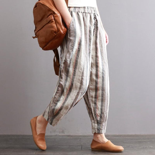 Retro Cotton Linen Loose Stripes Casual Pants June 2020-New Arrival One Size As the picture