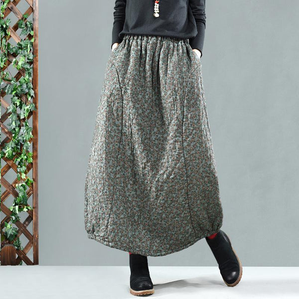 Retro Cotton Linen Quilted Thick Print Floral Skirt Nov 2020-New Arrival One Size Green A