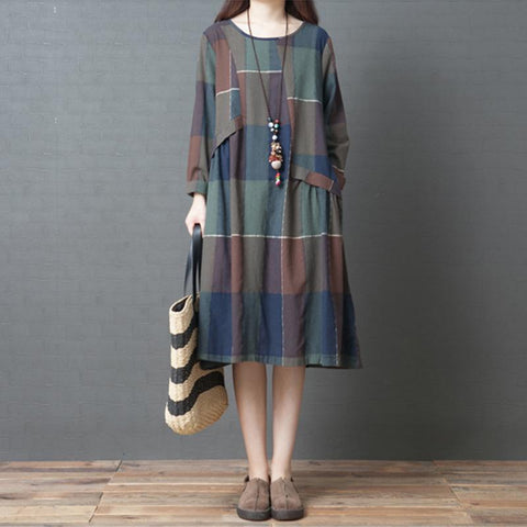 Retro Cotton Plaid Loose Fitting Dress Nov 2020-New Arrival M Green