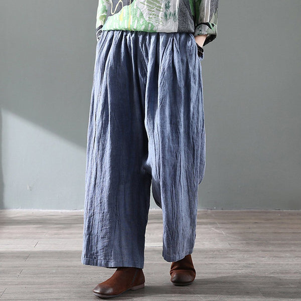 Retro Distressed Wide Leg Linen Pants For Women May 2020-New Arrival One Size Blue