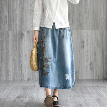 Retro Embroidered Denim Loose Skirt May 2021 New-Arrival L Light Blue