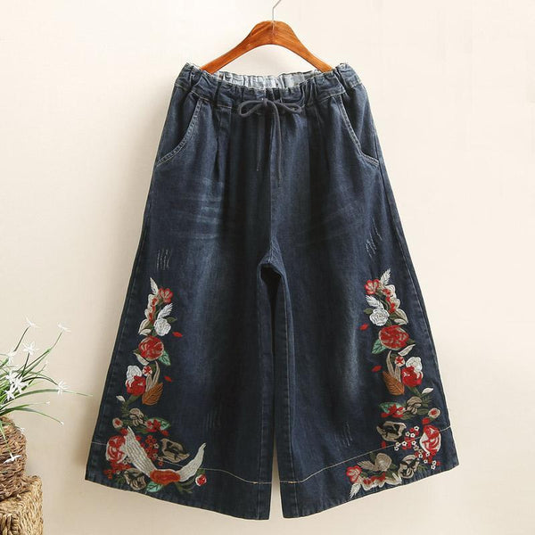 Retro Embroidered Wide-Leg Pants 2019 November New L Navy