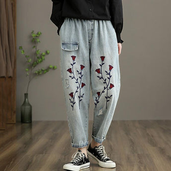 Retro Embroidery Denim Straight Pants April 2021 New-Arrival One Size Light Blue