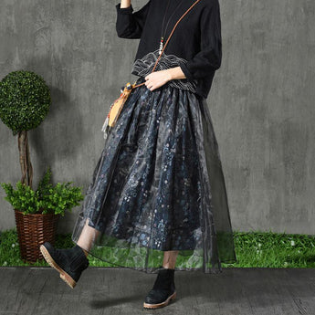 Retro Floral Cotton Mesh Skirt May 2021 New-Arrival