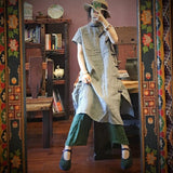 Retro High-End Linen Grid Stand Collar Dress June 2020-New Arrival