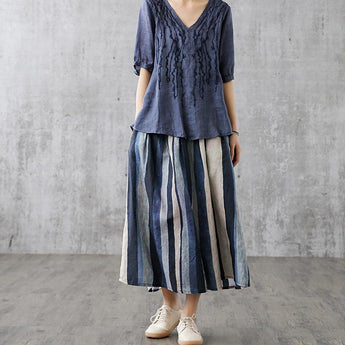 Retro High Waist A-line Linen Skirt May 2021 New-Arrival