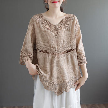 Retro Hollow Round-neck Lace Blouse April 2021 New-Arrival One Size Khaki