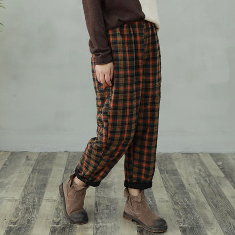 Retro Loose Plaid Cotton Casual Pants 2019 New December One Size Orange