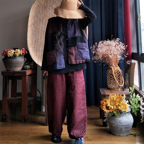 Retro Patchwork Loose Women Waistcoat Spring And Autumn Coat