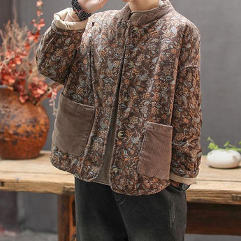 Retro Printed Cotton Padded Winter Coat 2019 November New One Size Coffee