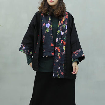 Retro Scarf Cotton Floral Ethnic Winter Coat 2019 November New One Size Black