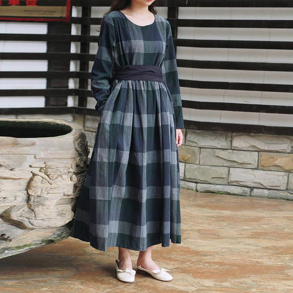 Retro Spring Women's Cotton Plaid Dress April 2021 New-Arrival One Size Green