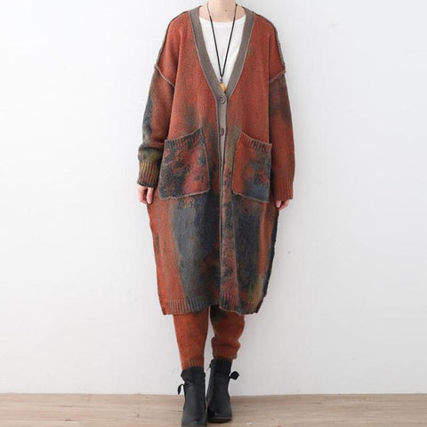 Retro Thick Long Sweater Loose Cardigan Coat Winter Coat One Size As the picture
