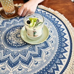 Retro Totem Cotton Linen Circle Tablecloth Home Linen
