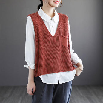 Retro V-neck Cotton Knit Pullover Sweater Vest April 2021 New-Arrival One Size Brown-red