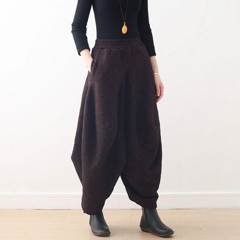 Retro Warm Thick Loose Knit Bloomer pants