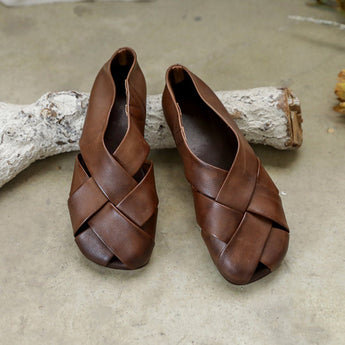 Retro Woven Hollow Leather Flats For Women 35 Coffee