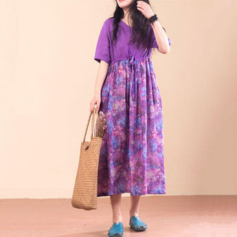 Rich Linen Floral Summer Dress Short Sleeve April 2021 New-Arrival