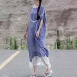 Round Neck Loose Short Sleeve Casual Cotton Dress Short Sleeve Dress