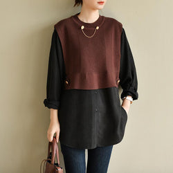 Round Neck Solid Color Knitted Stitching Fake Two-piece Shirt OCT wine red and black