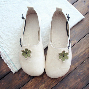 Round Toe Flowers Flats Shoes With Elastic Belts March-2020-New Arrival 35 Beige