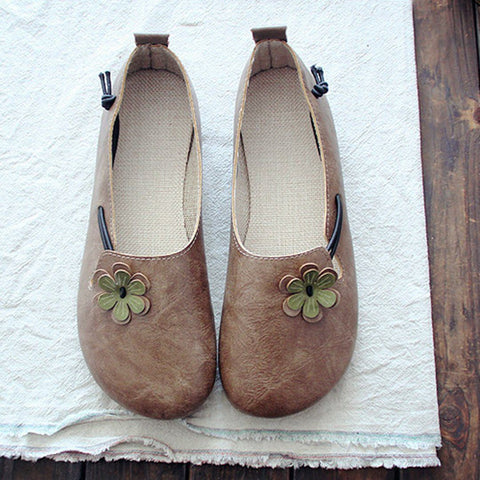 Round Toe Flowers Flats Shoes With Elastic Belts March-2020-New Arrival 35 Khaki