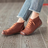 Round Toe Leather Casual Women Shoes Shoes