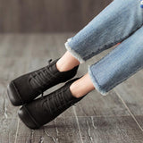 Round Toe Leather Casual Women Shoes Shoes 35 Black
