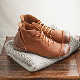 Round Toe Leather Casual Women Shoes Shoes 35 Brown