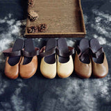 Round Toe Leather Flats Slippers 35-41