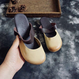 Round Toe Leather Flats Slippers 35-41 35 Beige