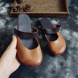 Round Toe Leather Flats Slippers 35-41 35 Camel
