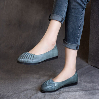 Ruched Leather Retro Flats Shoes For Women March-2020-New Arrival 35 Blue Gray