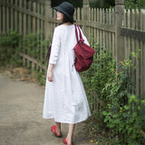 Rural Style Fashion White Linen Long Sleeve Dress March-2020-New Arrival