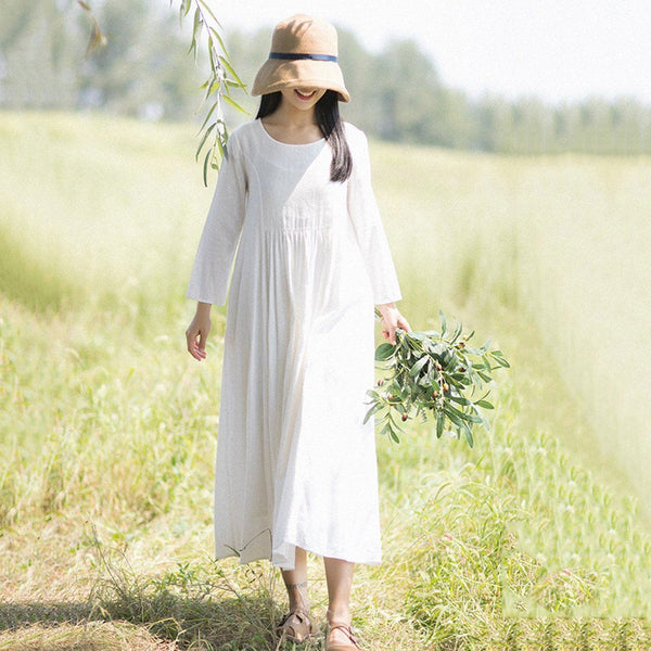 Rural Style Fashion White Linen Long Sleeve Dress March-2020-New Arrival M White