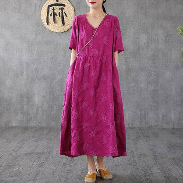 Sale Women Summer Vintage V-Neck Embroidery Short Sleeve Dress 2019 Jun New One Size Rose Red