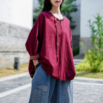 September Ethnic Style Simple Top Shirt September 2020 new arrival red