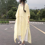 Short Sleeve Yellow Slit Leisure Cotton Dress Short Sleeve Dress