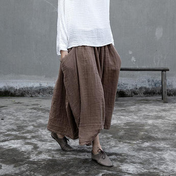 Side Pockets Irregular Loose Cotton Retro Skirt Nov 2020-New Arrival One Size Khaki