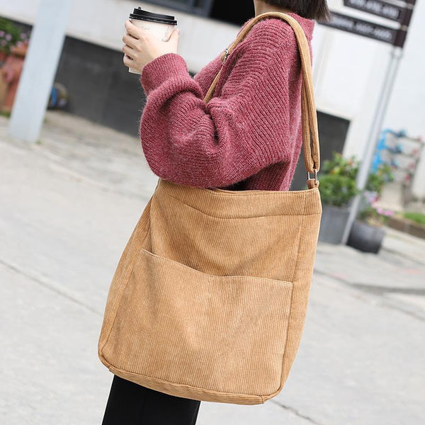 Simple Casual Corduroy Solid Color Crossbody Bag 2019 April New Brwon