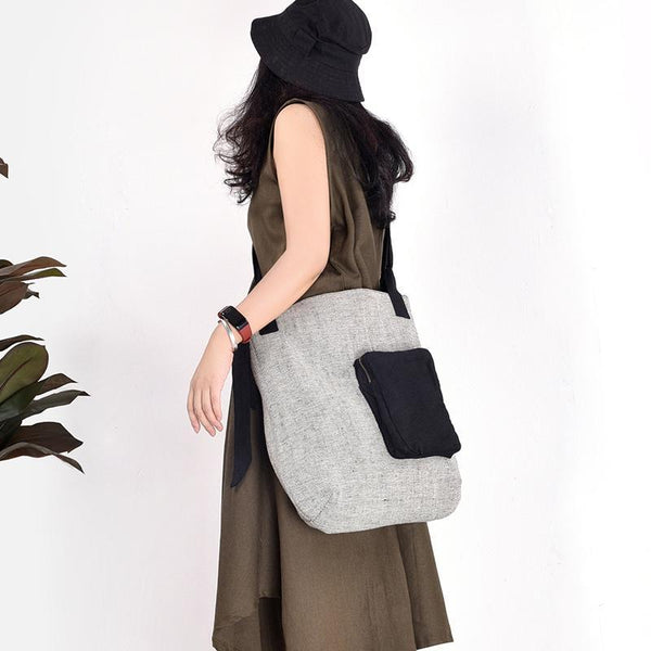 Simple casual retro shoulder stitching large-capacity literary wild bag 2019 March New Free As the picture