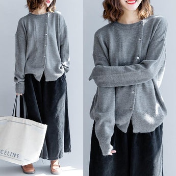 Slanted Buttons Round Neck Casual Loose Sweater March-2020-New Arrival One Size Gray