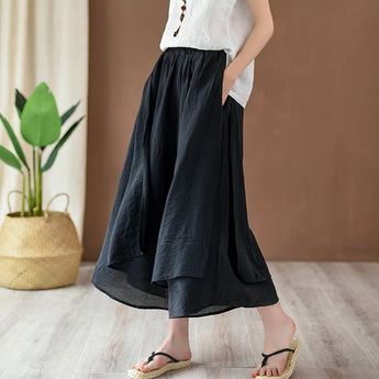 Solid Tiered Pants Culottes