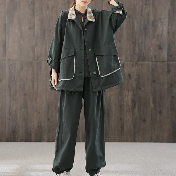 Splicing Suit Cargo Pants And Outerwear July 2020-New Arrival One Size Dark Green