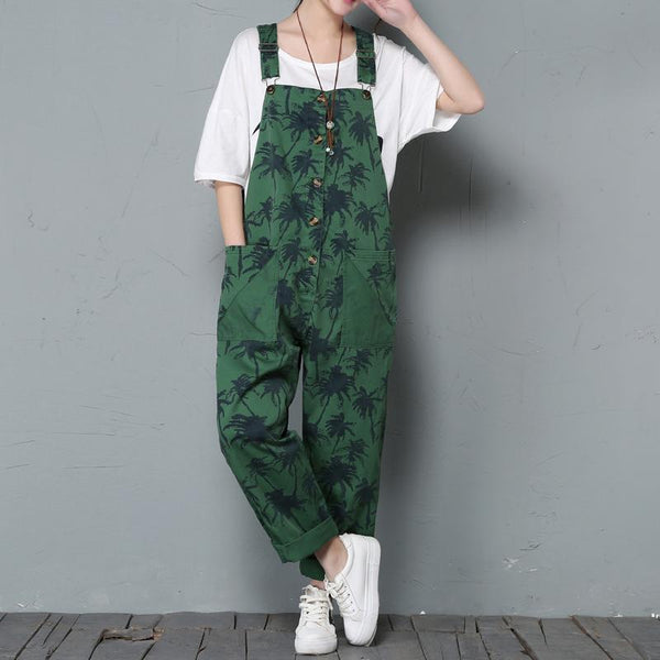 Spring Bib Women's Loose Casual Print Jumpsuit March-2020-New Arrival One Size Green