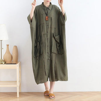 Spring Black Bat-sleeve Shirt Dress April 2021 New-Arrival One Size Amry-green