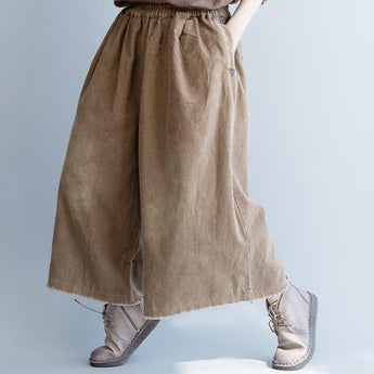Spring Casual Corduroy Wide Leg Pants March-2020-New Arrival One Size Coffee