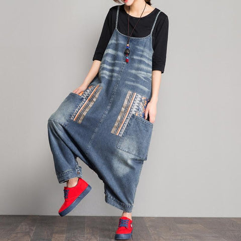 Spring Denim Bib Loose Crotch Strap Jumpsuit March-2020-New Arrival One Size Blue
